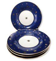 FOUR Sakura Galaxy Saucers Fine Porcelain Dishes Plates Gold Stars Cobalt Blue