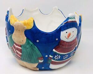 Vntg. 1998 St Nicholas Square Large Christmas Winter Serving Bowl Snowman Moose