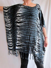 Ladies BLACK/ GREY ANIMAL PRINT Kaftan Poncho Tunic beach large plus size new