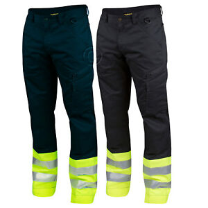 Projob Hi Vis Service Work Trousers with Knee Pad Pockets. Class 1 - 646523