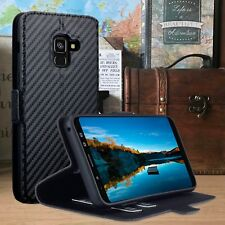 Samsung Galaxy A8 2018 Wallet 360° Protection Flip Case Stand Carbon Fiber Black