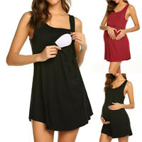 Women Pregnant Maternity Nursing Summer Casual Beach Solid Vest Sleeveless Dress