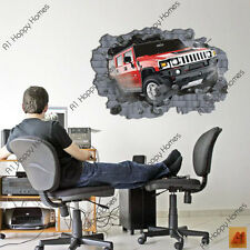 3D Break Through Car Jeep Wall Stickers Decal Art Kids Nursery Home Decoration