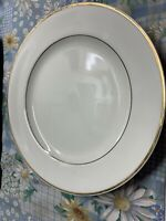 "4 Classic Gold Made in Indonesia Gold Line Trim Off White 10 5/8""  Dinner Plates"