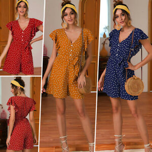 Womens Casual Button Up Ruffle Sleeve Jumpsuit Ladies V Neck Lace Up Romper Tops