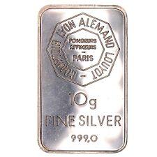 LINGOT - LINGOTIN ARGENT PUR MASSIF 999 - FINE SILVER - CLAL PARIS -10 grammes