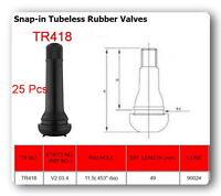 """25 Valves TR418 STANDARD 2"""" SNAP IN TUBELESS BLACK RUBBER TIRE VALVE STEM"""