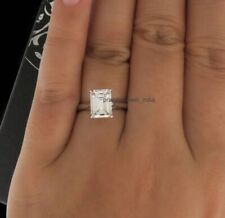 Ring 14k White Gold Finish 3.00Ct Emerald Cut Moissanite Solitaire Engagement