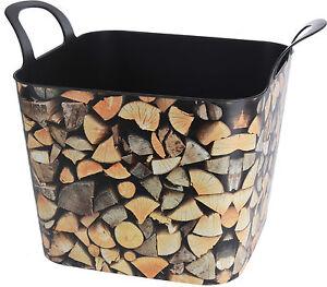 Flexible Plastic Wood Log Design Storage Log Basket Box with Handles Very Sturdy