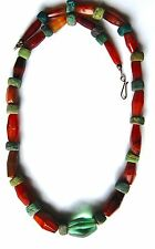 BEAUTIFUL ANTIQUE AFRICAN TRADE BEAD AGATE NECKLACE SILVER CLASP 31 INCHES LONG!
