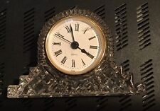Lead Crystal Clock 5.5 x 3 inch Roman Numeral Battery Operated Time Piece Clock