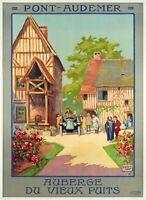 Affiche Originale - ALO - Pont Audemer - Normandie - Automobile - Hôtel - 1922