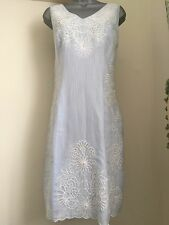 Phase Eight - Beautiful Pale Blue Cotton Embroidered Shift Dress - UK 10 BNWT