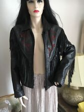 Vintage JTS Rocker/ Punk/ Biker Fringed Leather Jacket With Awesome Detailing