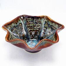 "Studio Art Pottery Fluted Bowl Green Dark Brown Drip Glaze 10"" Signed Stoneware"