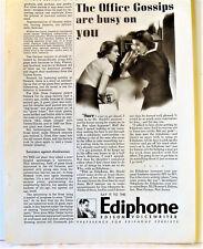 1938 Ediphone Edison Voicewriter Office Gossips Old Technology Print Ad