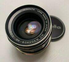 Minolta MC 35mm f2.8 Auto W Rokkor-HG Prime Lens for Minolta SLR film camera Exc