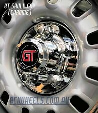 """FORD FALCON CHROME XA XB 12 SLOTTER GT SKULL CAPS SUIT 14"""" 15"""" WITH NUTS 351"""