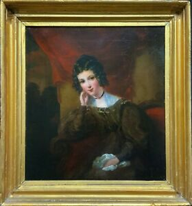 Exquisite Early 1800s Georgian Portrait Oil Painting Of A Beautiful Seated Lady