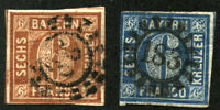 BAVARIA #3 #11 German States Stamps Postage BAYERN USED