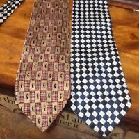 Men's Neck Tie Lot of 2, Multi-Color Granger Owings, Silk USA Italy 60 x 4