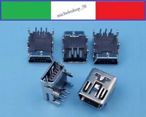 connettore a saldare mini USB femmina 4 fissaggi verticali 5pin 90° PCB