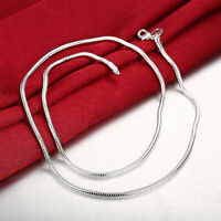 925 Sterling Silver Filled 3mm Classic Solid Chain Charm Necklace For Pendants