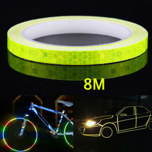 8M Reflective Tape Fluorescent Bike Bicycle Car Safety Reflective Sticker Yellow