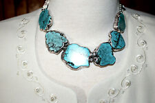 "Gorgeous Western Turquoise Silver Necklace  20""l Lobster Claw Clasp"
