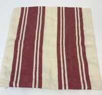 "Pottery Barn Linen Throw Pillow Cover Red Stripe Red 18"" Square Modern Farmhouse"
