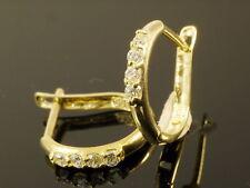 585 Gold Creolen mit Zirkonia Steinen 14 Karat  oval  Ohrringe 12 x 2 mm