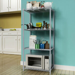 4 Tier Silver Metal Storage Rack/Shelving Wire Shelf Kitchen/Office Unit Stand