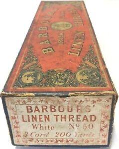 Barbour's Irish Flax Linen Thread Antique Spool Vintage Empty Box 1866 Trade Mar