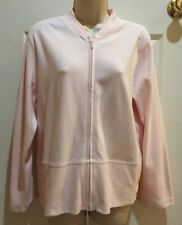 Eileen Fisher Women's Full Zip Sweatshirt Size Medium Side Pockets Hood Pink EUC
