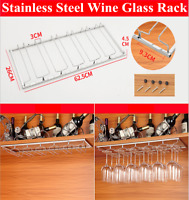 Stainless Steel Wine Glass Rack Hanging Stemware Holder Hanger Shelf Home Bar US