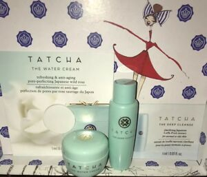 Tatcha Pore-Perfecting Moisturizer & Cleanser Duo Water Cream & Deep Cleanse Lot