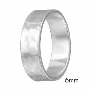 6mm Men & Women Sterling Silver Hand Hammered FLAT Wedding Band Ring