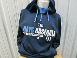 VINTAGE MAJESTIC MLB TAMPA BAY RAYS MEDIUM BLUE SWEATSHIRT HOODIE PREOWNED
