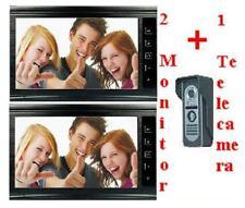 """Videocitofono 9"""" (2 monitor + 1 telecamera) colori visione notturna video BLACK"""
