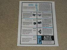 Altec Raw Driver Ad, 1957, 803a,3000b,811b,511b,802d,500d,800e, Articles 1 page