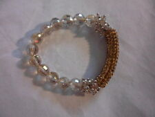 Champagne Faceted Glass Bead & Austrian Crystal Bracelet (Stretchable)