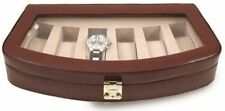 Brown Leather 6 Watch Case with Glass Top and Lock
