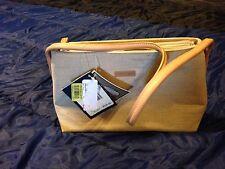 OROTON SYDNEY Tan Canvas Small Shoulder Handbag