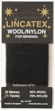 BLACK Thread for Darning & Mending Lincatex - 30% Wool 70% Nylon 10 Metres