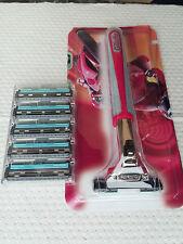 Gillette Contour Plus Rasoio Testa in acciaio INOX NUOVO ORIG. & 6 lamette da barba (5 + 1)