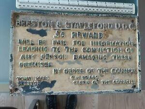 Vintage cast iron sign Beeston & Stapleford UDC £5 reward for information 1970s