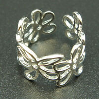 14k white Gold plated vintage filigree flowers ring Adjustable size 5 6 7 8 9 10