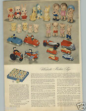1948 PAPER AD Rubber Toy Sunruco Mickey Mouse Thumper Pluto Donald Duck Roadster