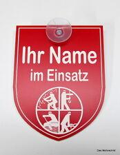 Ihr Name, im Einsatz, Feuerwehr,Gravur,Schild,9 x 7 cm,Kunststoff,Rot