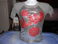 Vintage Glam Disco Shirt Ladies Womens Petite Small Retro EMO